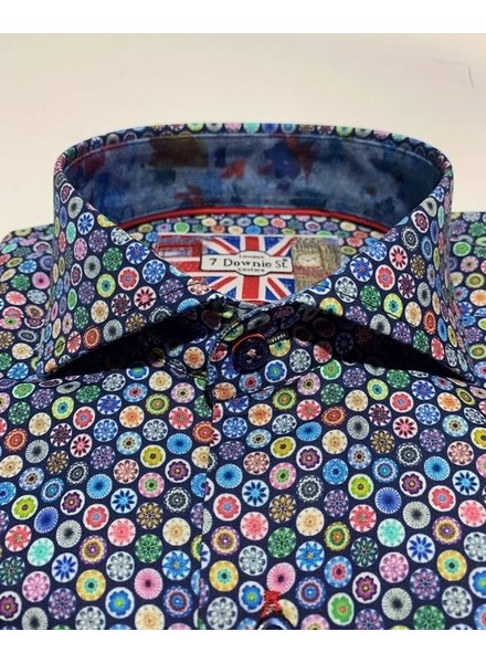 7 DOWNIE Modern Fit Blue Floral LS Shirt