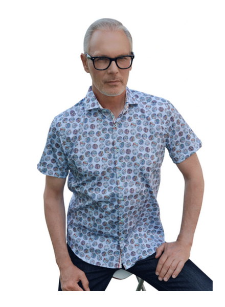 7 DOWNIE Modern Fit Blue Patch Circles Shirt