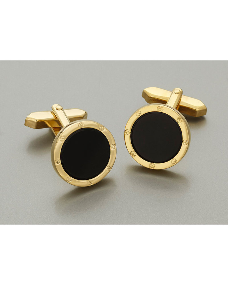 WEBER Gold with Onyx Center Cuff Link