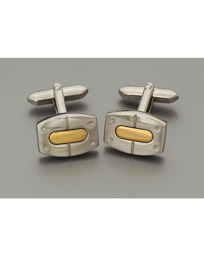 WEBER Silver with Gold Insert Cuff Links