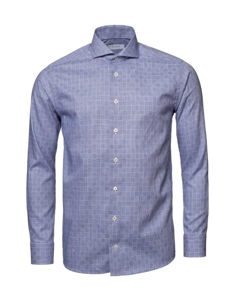 ETON Slim Fit Navy Block Shirt