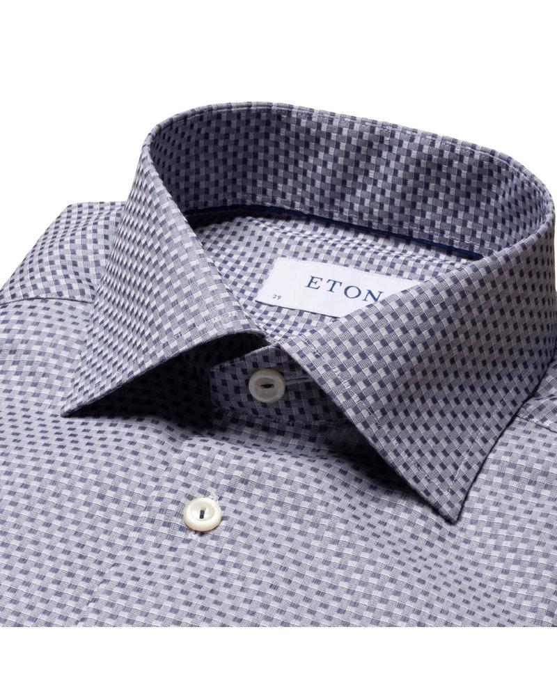 ETON Modern Fit Blue Woven Check Shirt