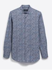 BUGATCHI UOMO Modern Fit Blue Orange Neat Shirt