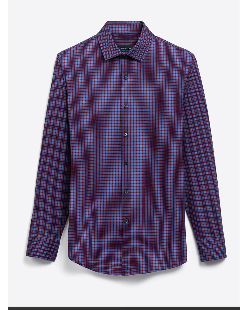 BUGATCHI UOMO Modern Fit Burgundy Blue Block Shirt