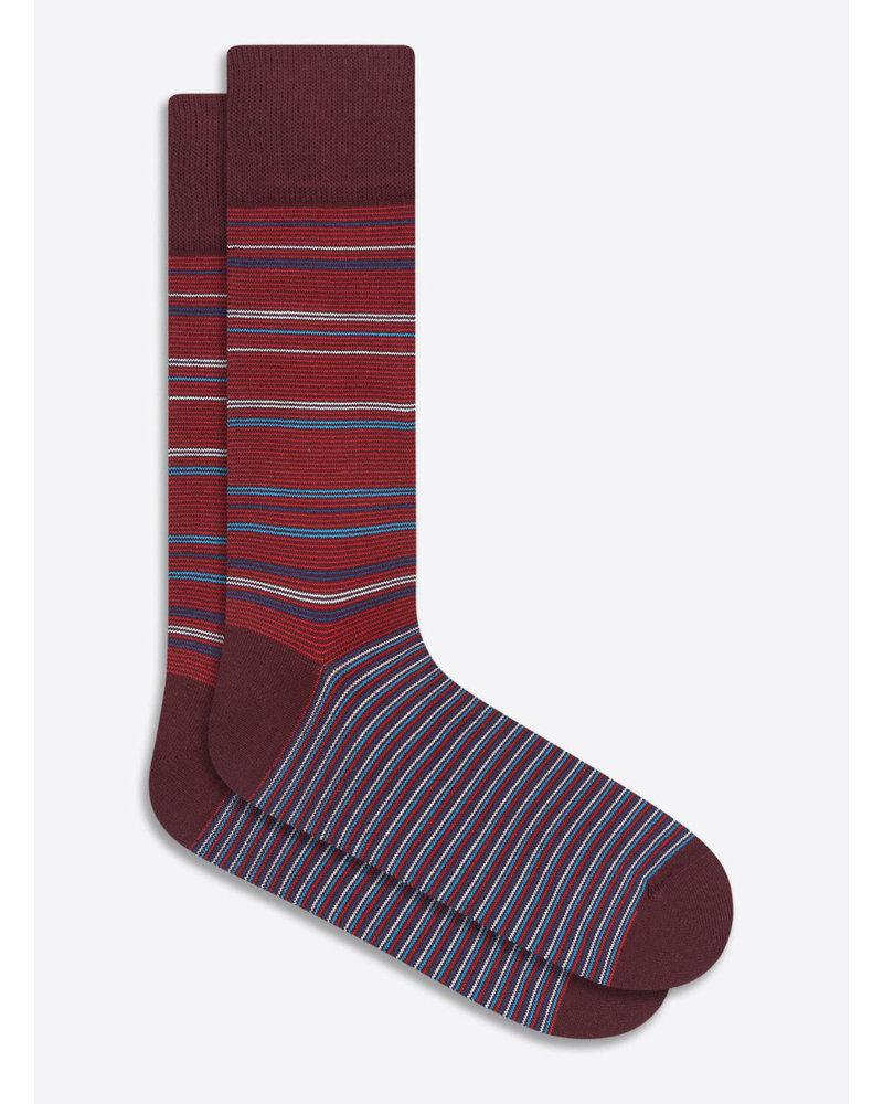 BUGATCHI UOMO Wine Tight Stripe Cotton Cashmere Socks