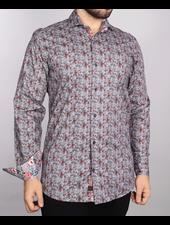 7 DOWNIE Modern Fit Grey Red Daisy Shirt