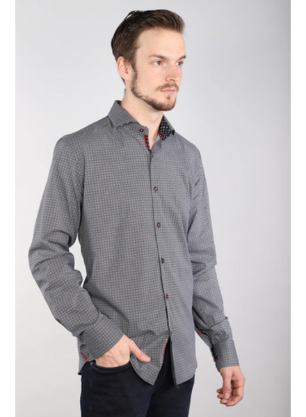 7 DOWNIE Modern Fit Grey Black Shirt