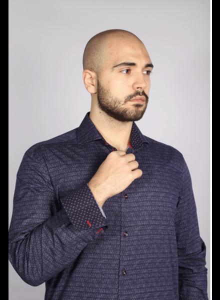 7 DOWNIE Modern Fit Purple Scale Print Shirt