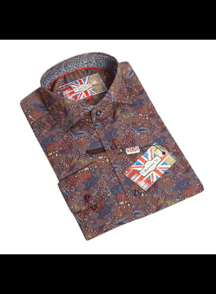 7 DOWNIE Modern Fit Brown Floral Shirt