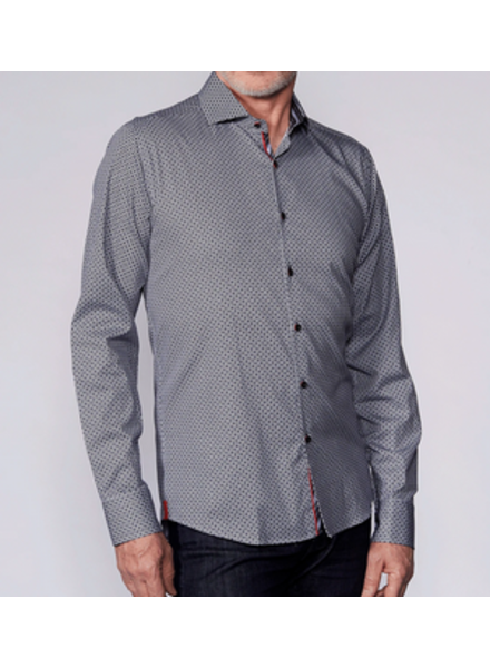 7 DOWNIE Modern Fit Grey with Navy Red Dot Shirt