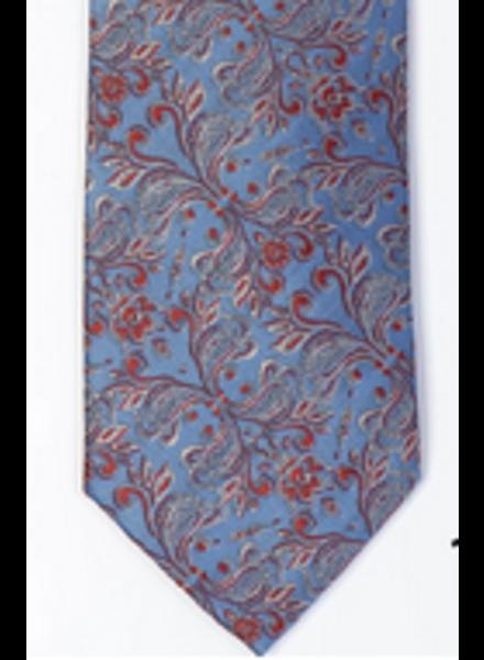 7 DOWNIE Light Blue Pink  Floral Tie