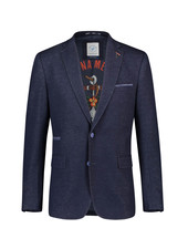 A FISH NAMED FRED Modern Fit Navy Jersey Pique Sport Coat