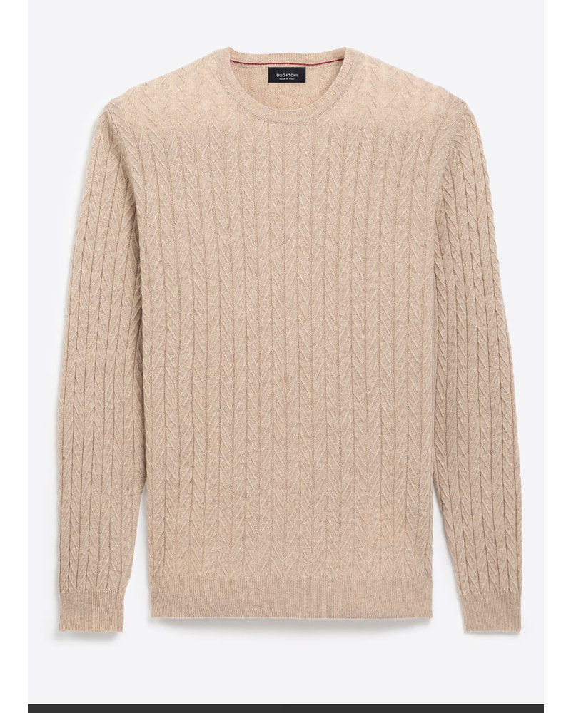 BUGATCHI UOMO Tan Cable Knit Sweater