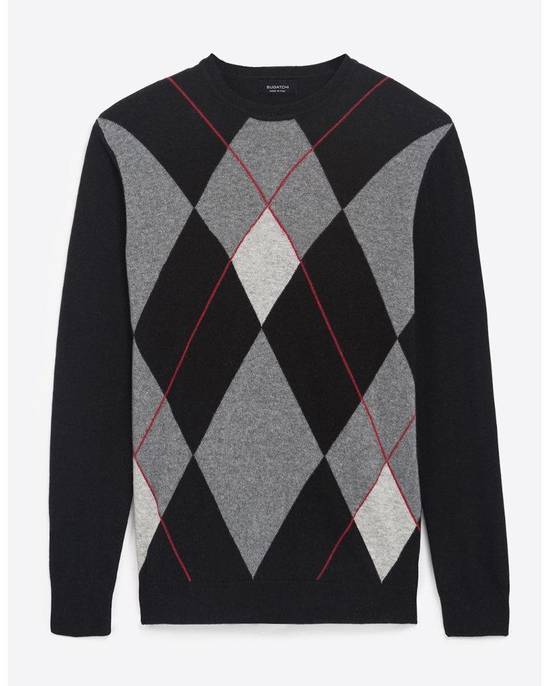 BUGATCHI UOMO Black Argyle Sweater