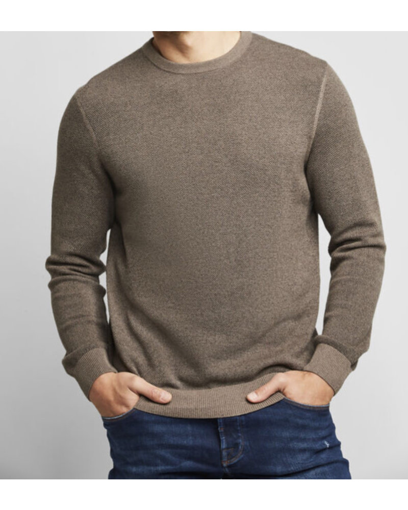 BUGATTI Modern Fit Taupe Knit Crewneck