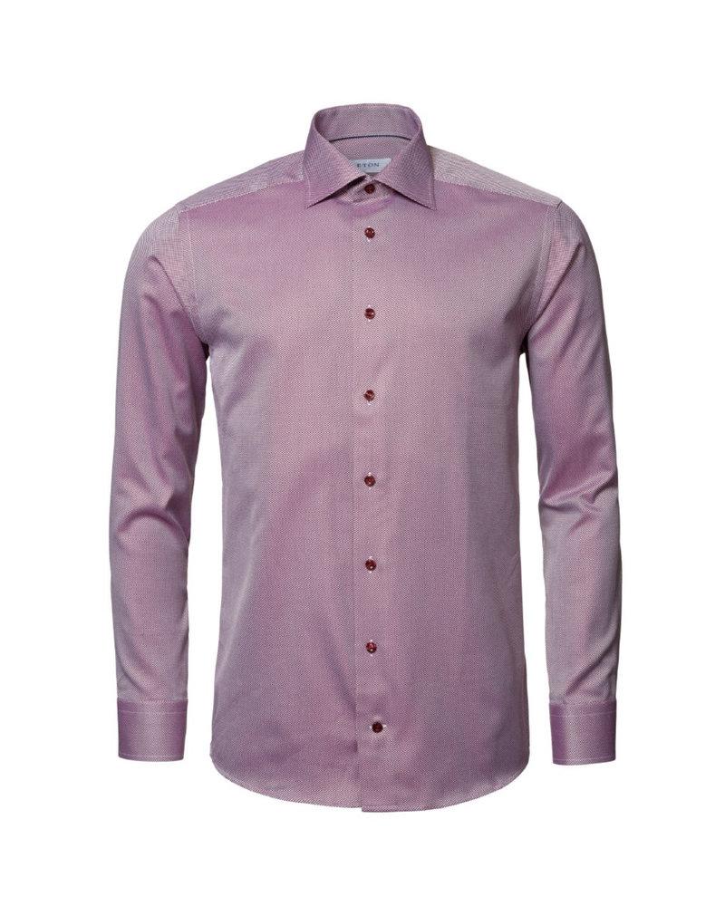 ETON Modern Fit Wine Twill Dress Shirt