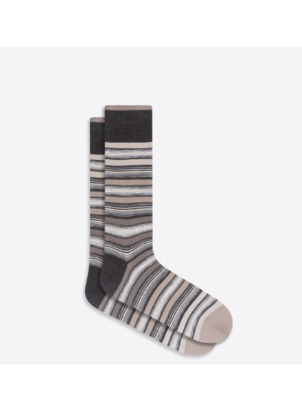 BUGATCHI UOMO Black & Grey Striped Socks
