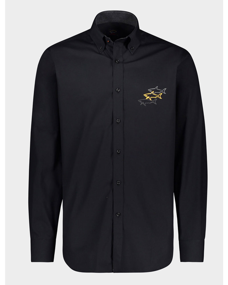 PAUL & SHARK Modern Fit Black Logoed Shirt