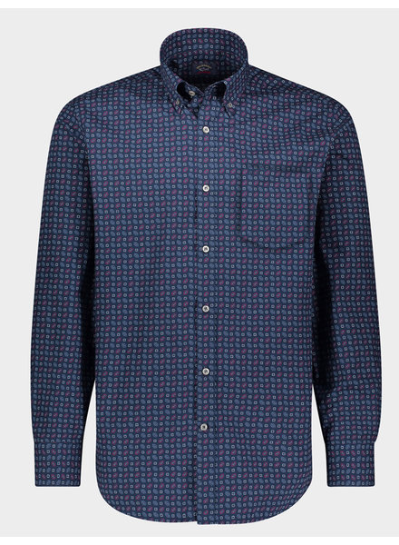 PAUL & SHARK Modern Fit Navy Printed Shirt