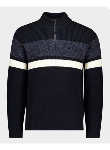 PAUL & SHARK Navy Striped 1/4 Zip Sweater