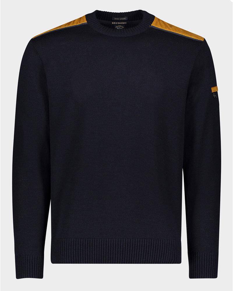 PAUL & SHARK Navy with Corduroy Shoulders Sweater