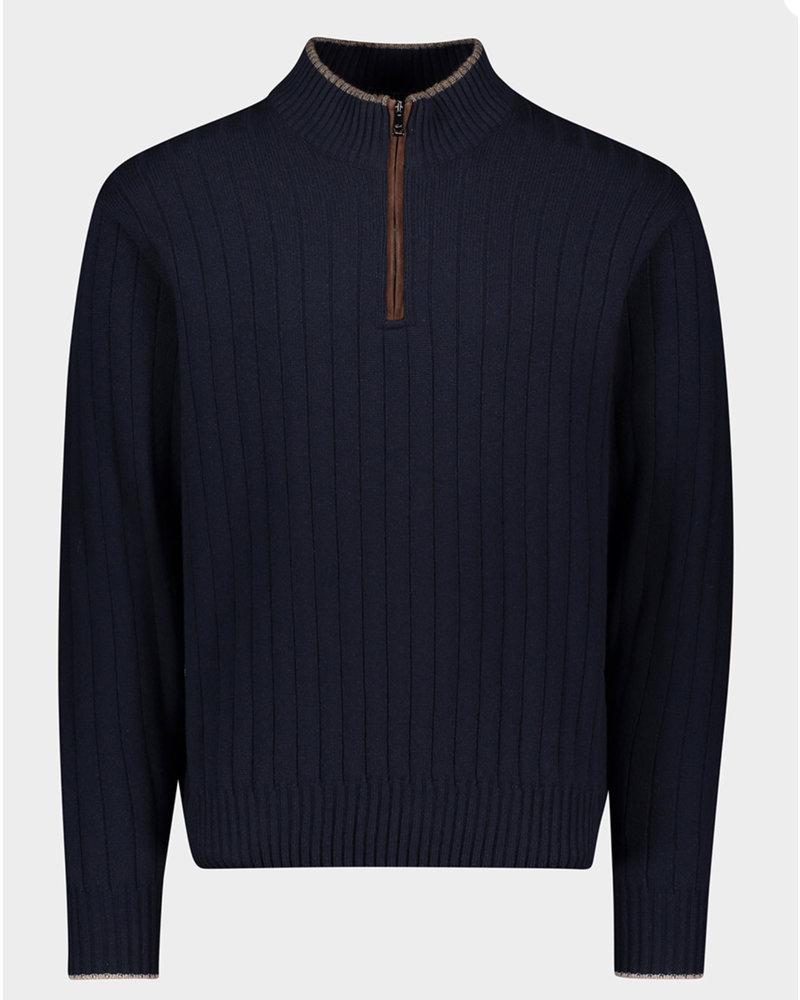 PAUL & SHARK Navy with Suede Trim 1/4 Zip Sweater