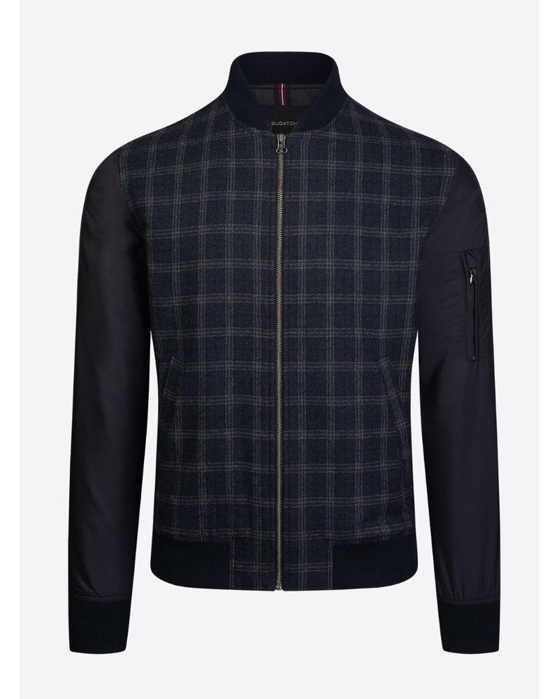 BUGATCHI UOMO Plaid Front Quilted Jacket