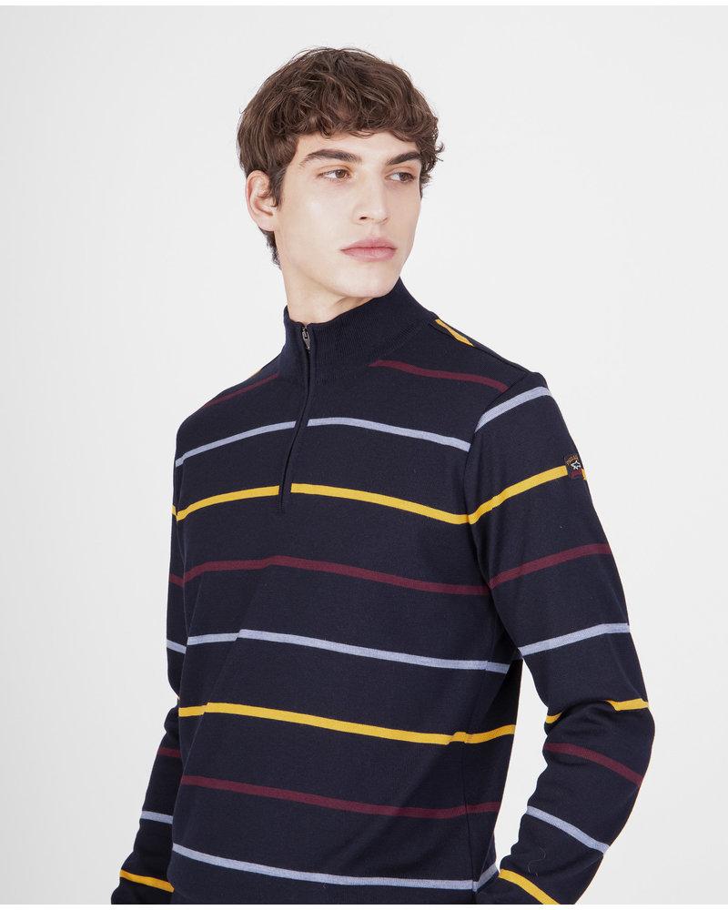 PAUL & SHARK Charcoal Striped 1/4 Zip Sweater
