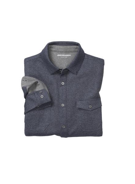 JOHNSTON & MURPHY Navy Button Front Knit Shirt