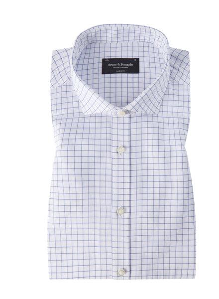 BRUUN & STENGADE Modern Fit White with Navy Block Shirt