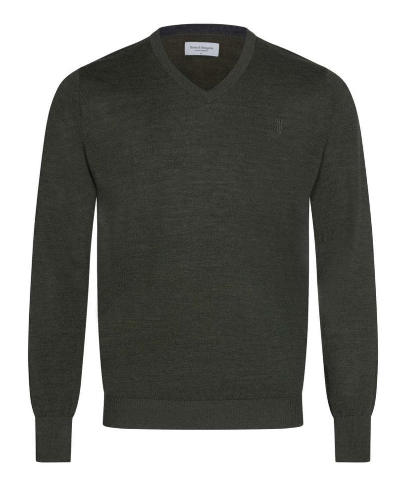BRUUN & STENGADE Solid Wool Blend V-Neck