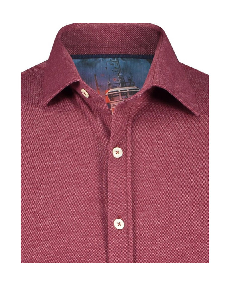 A FISH NAMED FRED Modern Fit Burgundy Stretch Pique Shirt