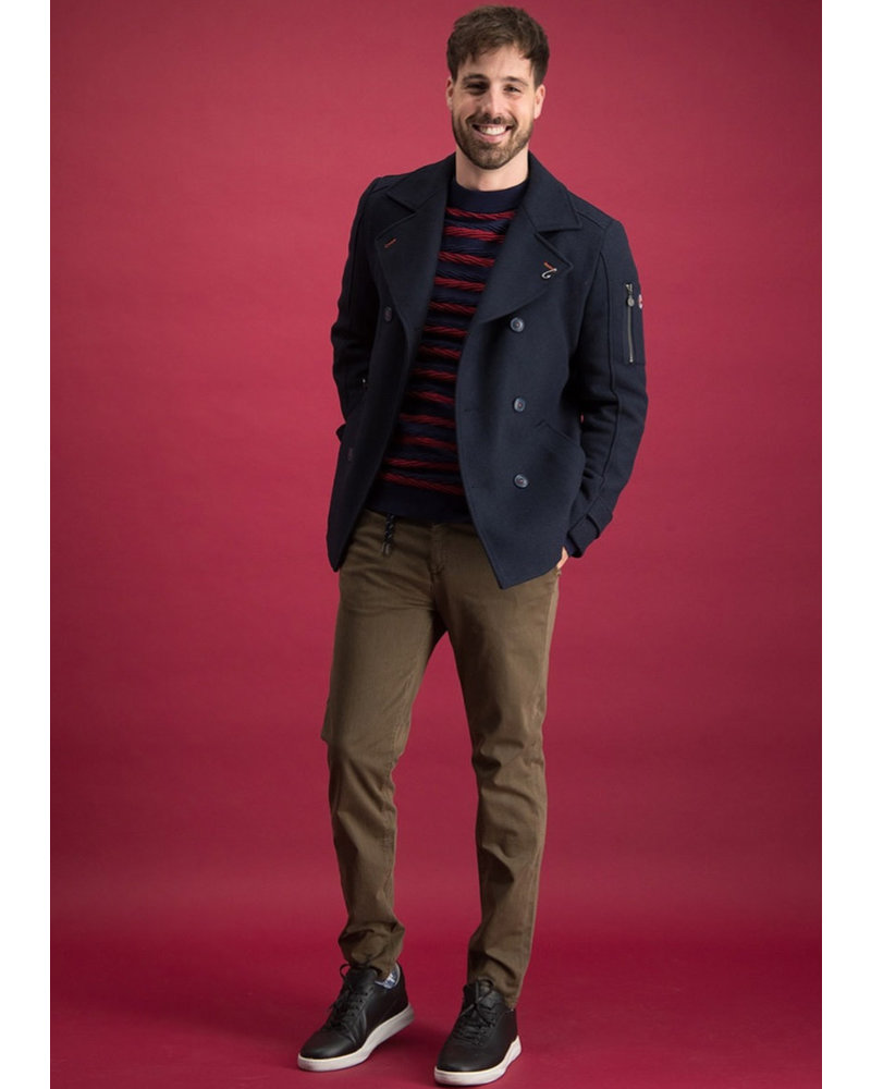 A FISH NAMED FRED Modern Fit Navy Pea Coat