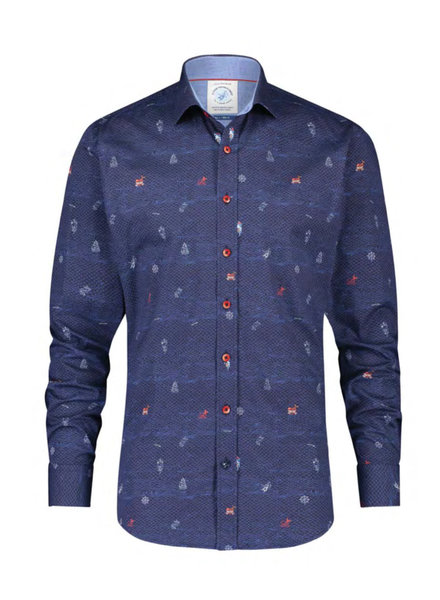 A FISH NAMED FRED Modern Fit Navy Tattoo Elements Shirt