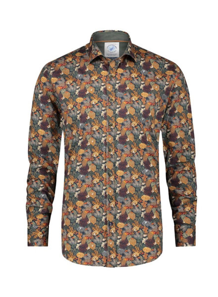 A FISH NAMED FRED Modern Fit Orange Green Coral Shirt