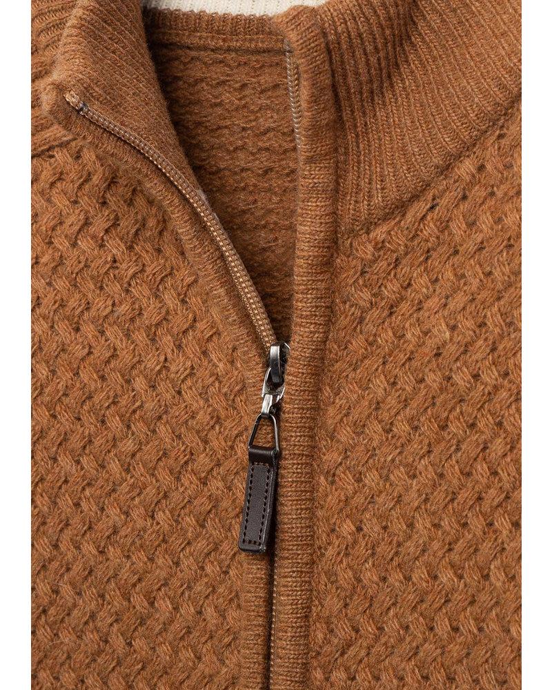 BUGATCHI UOMO Camel Full Zip Sweater