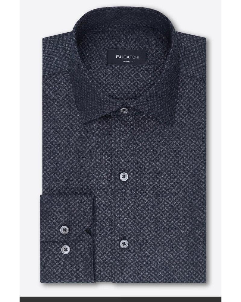 BUGATCHI UOMO Classic Fit Charcoal Neat Pattern Shirt