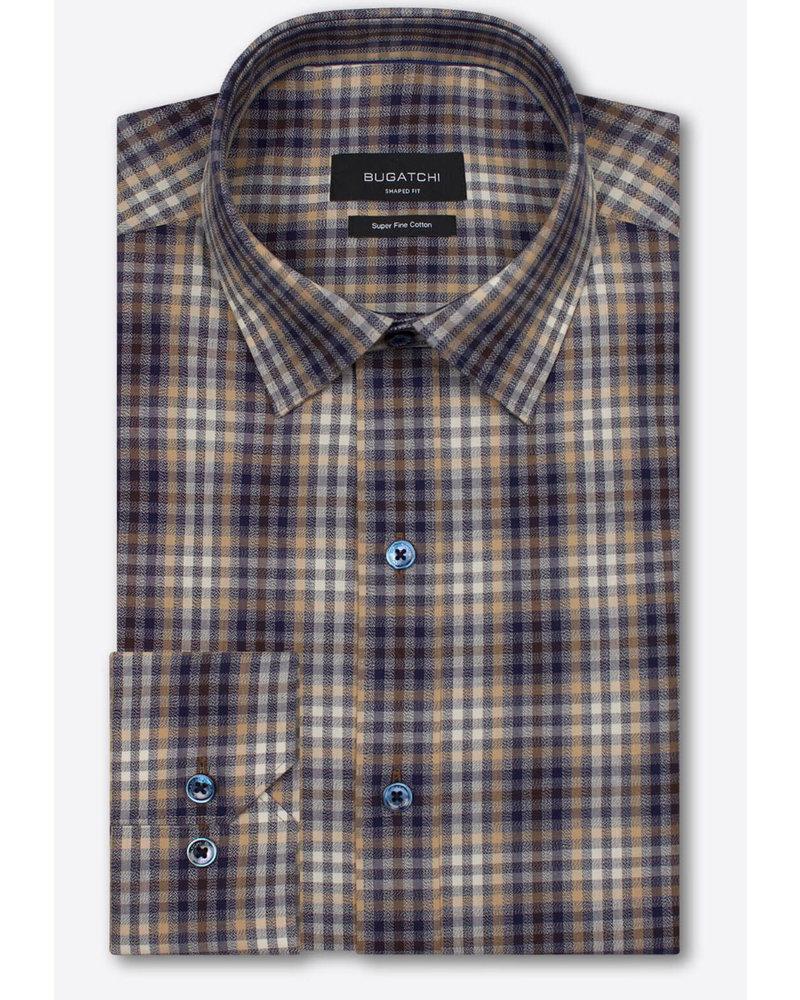 BUGATCHI UOMO Classic Fit Tan Blue Plaid Shirt