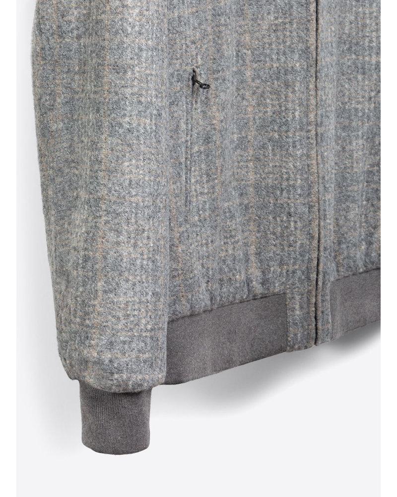BUGATCHI UOMO Heathered Grey Beige Check Bomber