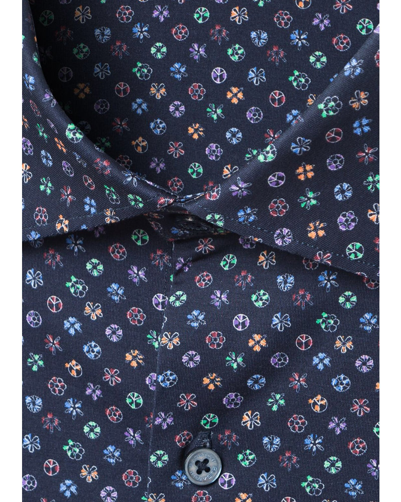 BUGATCHI UOMO Modern Fit Navy with Colourful Circles Shirt