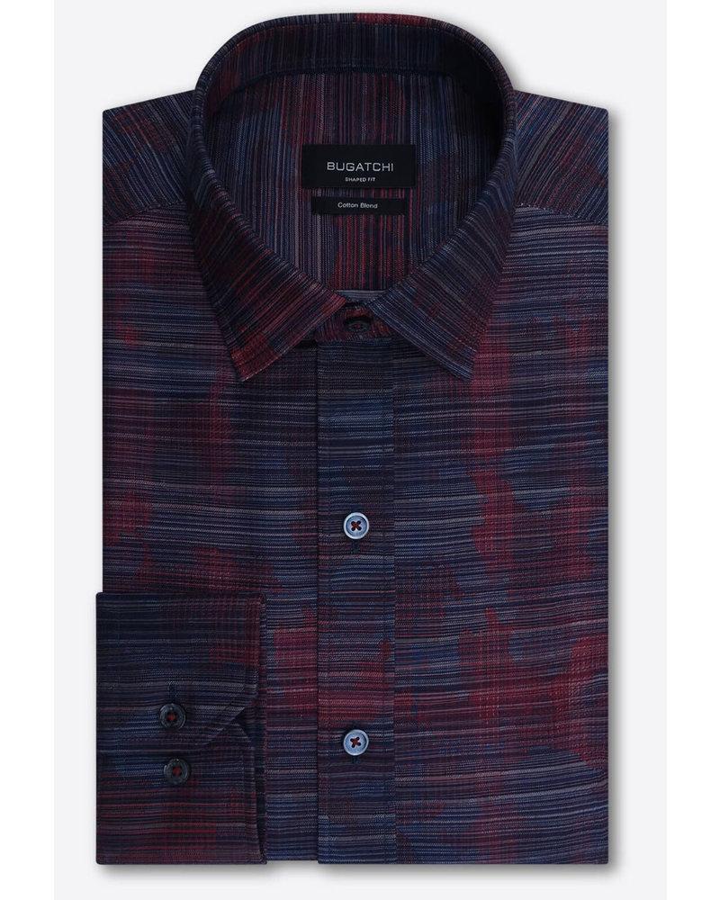 BUGATCHI UOMO Modern Fit Red & Navy Shirt