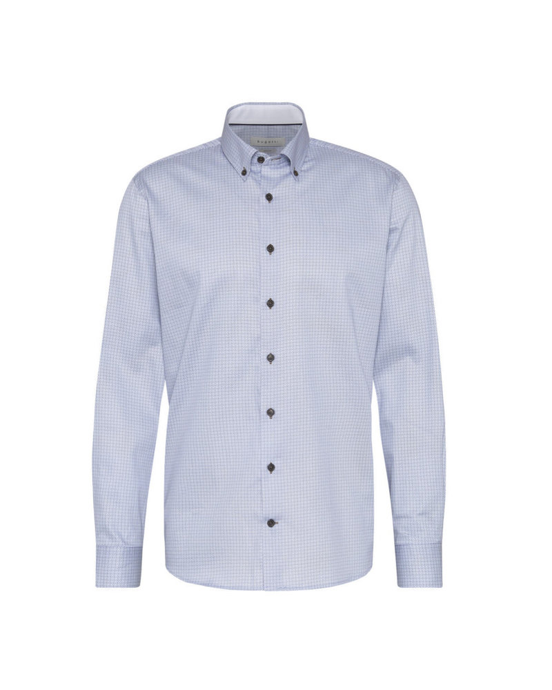 BUGATTI Modern Fit Blue Grey Neat Shirt