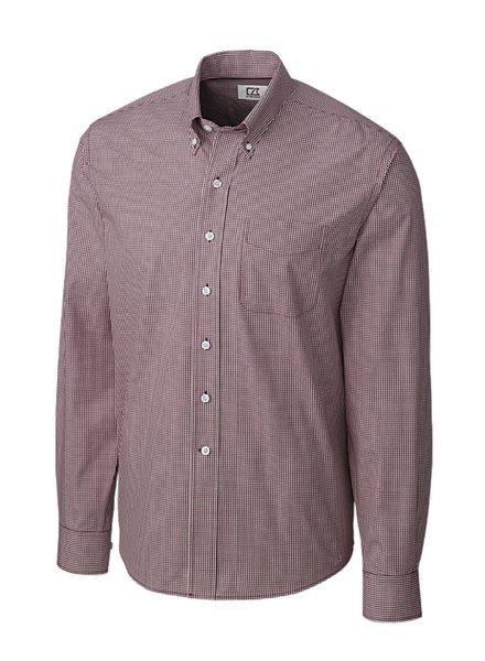 CUTTER & BUCK Classic Fit Bordeaux Gingham Shirt