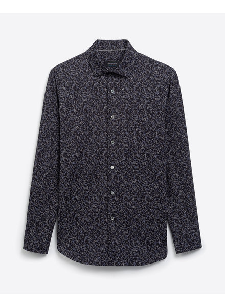 BUGATCHI UOMO Modern Fit Black with Lines Shirt
