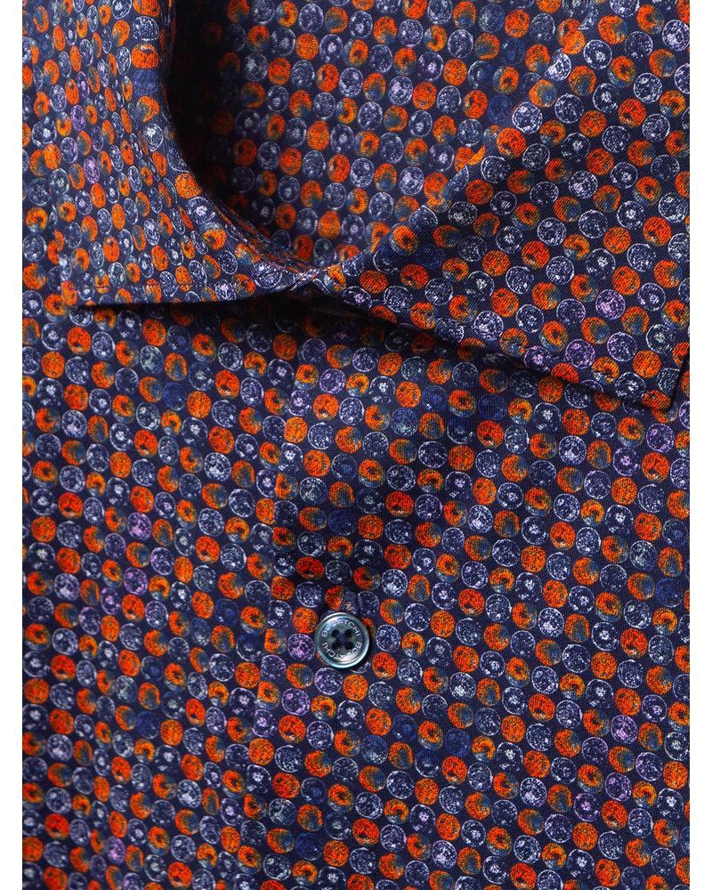 BUGATCHI UOMO Modern Fit Navy Orange Circles Shirt