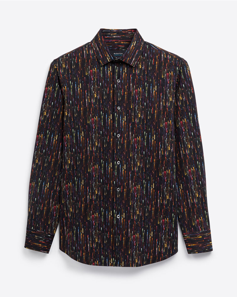 BUGATCHI UOMO Modern Fit Black Multi Colored Shirt