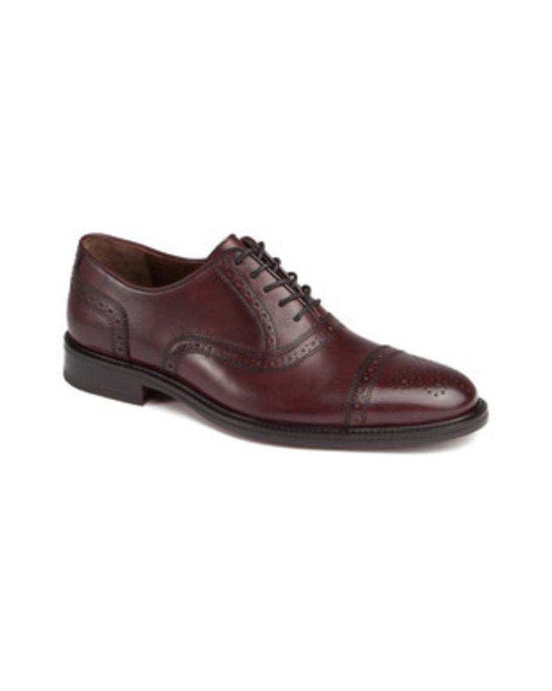 JOHNSTON & MURPHY Daley Burgundy Cap Toe Leather Shoe