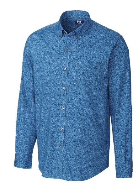 CUTTER & BUCK Classic Fit Blue Strive Leaf Print Shirt
