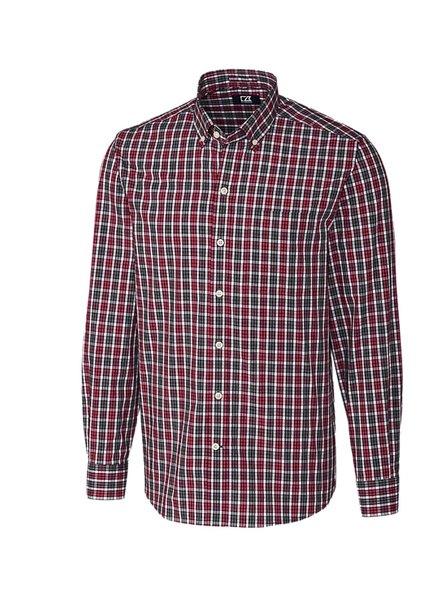 CUTTER & BUCK Classic Fit Red Harris Plaid Shirt