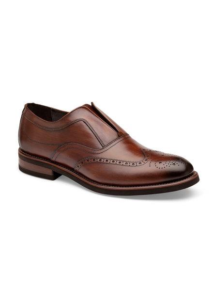 JOHNSTON & MURPHY Brown Ashford Wing Tip Slip On Shoe